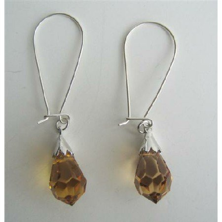 ERC317  Lite Smoked Topaz Czech Crystals Teardrop Sterling Silver Hoop Earrings