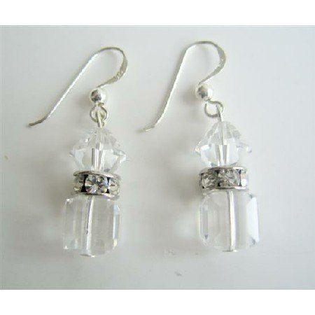 ERC348 Swarovski Clear Crystals w/ Silver Rondells Spacer Sparkle Like Real Diamond Earrings