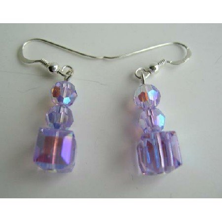ERC196  Crystals Earrings in AB Violet Swarovski Crystals Earrings Sterling Silve