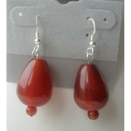ERC259  Carnelian Bead 18mm Sterling Silver 92.5 Earrings