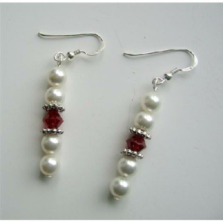 ERC246  Swarovski White Pearls Siam Red Crystals Earrings Sterling Silver Earrings