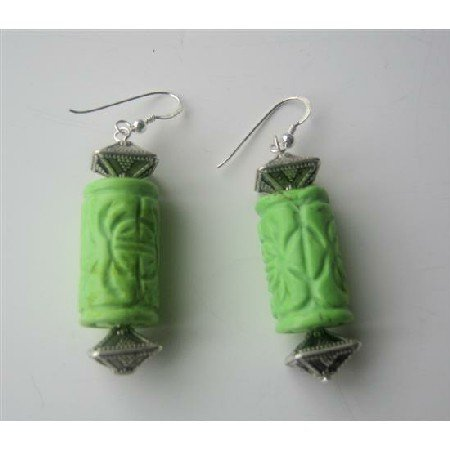 ERC263Genuine Green Turuquoise 20mm Ethnic Engraved w/Bali Beads Sterling Silver 92.5 Earrings