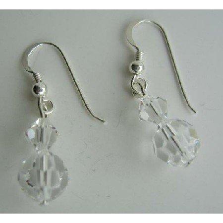 ERC305  Clear Swarovski Crysta Sterling Silver Earrings Genuine Swarovski Crystals