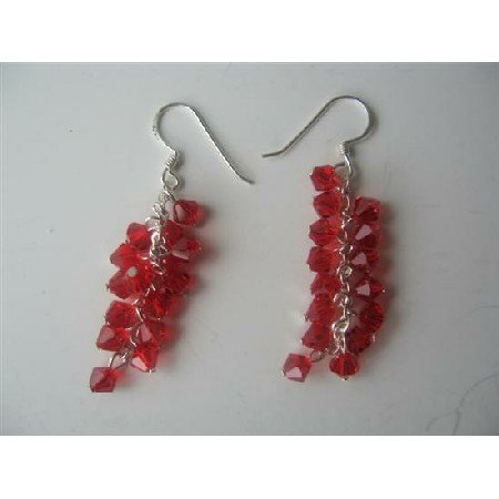 ERC260Red Siam Crystals Sterling Silver Earrings Genuine Swarovski Siam Red Crystals Earrings