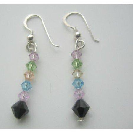 ERC220  Multi Color Swarovski Crystals Earrings Sterling Silver Earrings