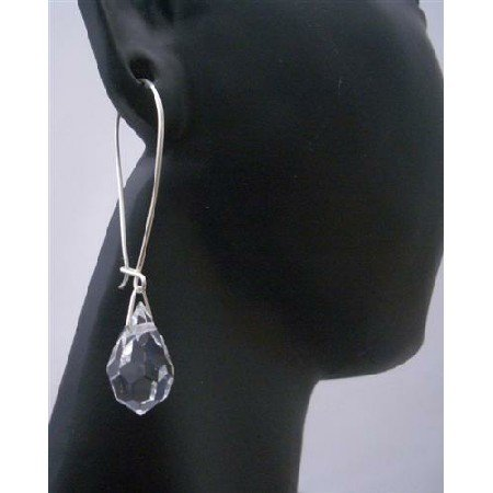 ERC298  Genuine Czec Teardrop Crystals Sterling Silver Hoop Earring