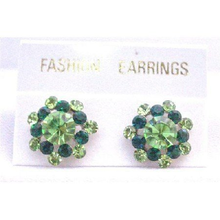 ERC517  Green Crystals Peridot Emerald Surgical Post Earrings