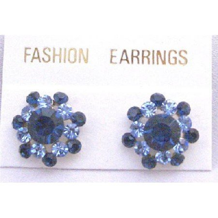 ERC142  Round Surgical Post Earrings w/ Sparkling Aquamarine & Sapphire Crystals Pierced Earrings