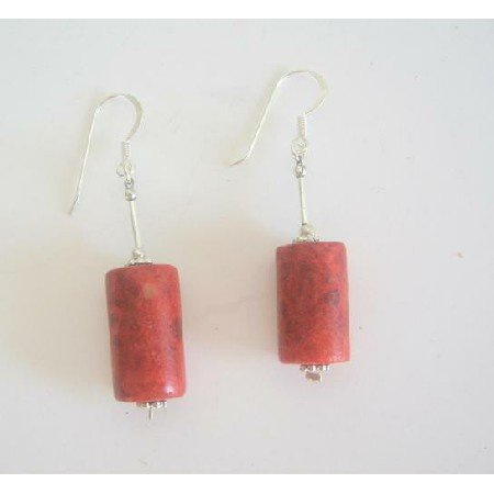 ERC230  Coral Barrel Jeawelry 20mm Coral Barrel Earrings w/ Sterling Silver Tube