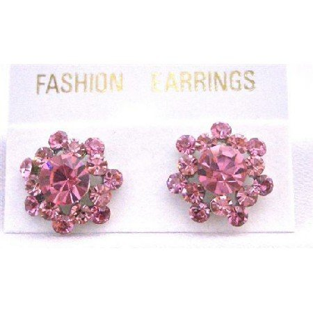 ERC516  Sparkling Rose Crystals Surgical Post Earrings Beautiful Pink Crystals Earrings