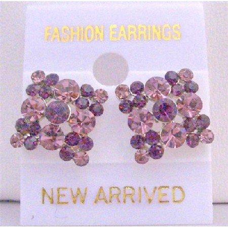 ERC157  Amethyst Light & Dark Crystals Gorgeous Crystals Flower Earrings
