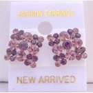 ERC157  Amethyst Light & Dark Crystals Gorgeous Crystals Flower Earrings