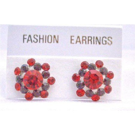 ERC515  Siam Red Crystals Surgical Post Earrings Light & Dark Siam Red Crystals Earrings