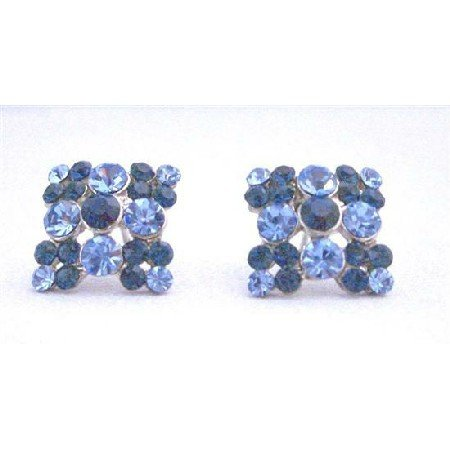 ERC469  Sapphire Crystals Earrings Light and Dark Sapphire Crystals Embedded Flower Earrings