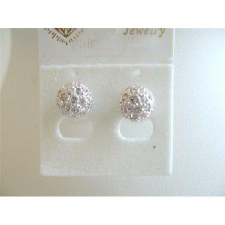 ERC113  Cubic Zircon Embedded Stud Earrings