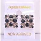 ERC112  Black And Black Diamond Crystals 6mm Jet Crystals Embossed Earrings