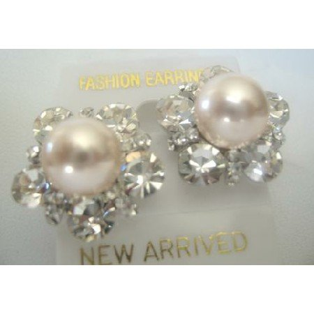 ERC154  Stunning Stud Cultured Round Peach Pearls Earrings w/ Surrounded Cubic Zircon