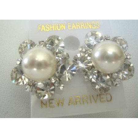 ERC153 Stud Cream Cultured Round Pearls Earrings w/Surrounded Cubic Zircon Pierced Earrings