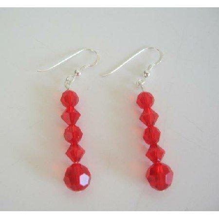 ERC211  Swarovski Siam Red Crystals Earrings Sterling Silver Earrings