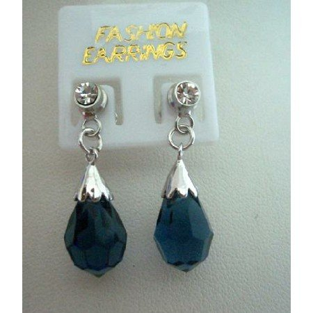ERC168  Genuine 925 Sterling Silver Earrings Surgical Earrings w/ Genuine Crystals Teardrop