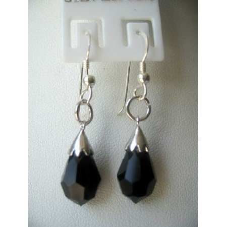 ERC136Czech Crystals Tear Drop Earrings Jet Crystals Earrings w/ 925 Sterling Silver