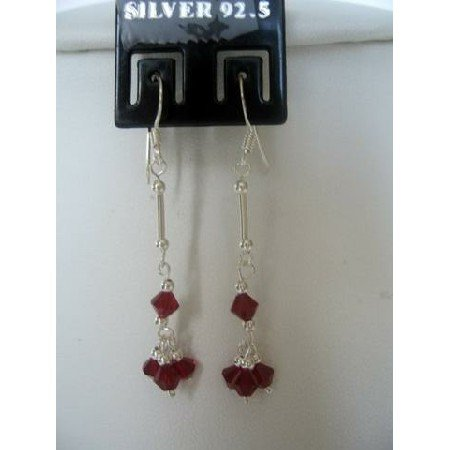 ERC120  Sterling Silver Garnet Crystals Earrings French Hook