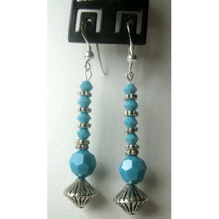 ERC161  Ethnic Handcrafted Jewelry Sterling Silver & Turquoise Beads w/ Bali Silver