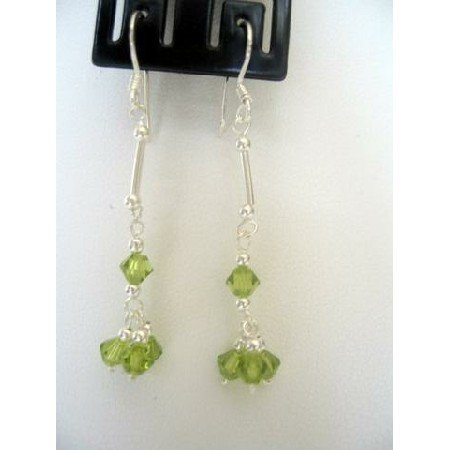 ERC121  Peridot Crystals Earrings In Sterling Silver French Wire Earrings
