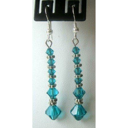 ERC160 Earrings Ethnic Genuine Sterling Silver&Swarovski Blue Zircon Crystals w/Bali Silver