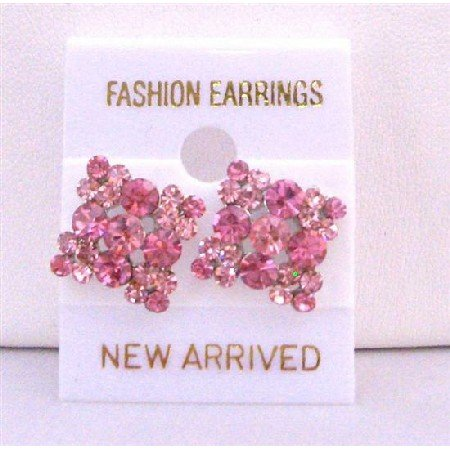ERC181  Favorite Pink Crystals Earring