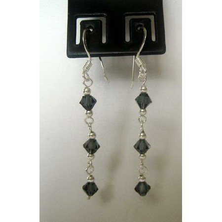 ERC128  Genuine Black Diamond Crystals w/ Genuine Sterling Silver French wire Earrings