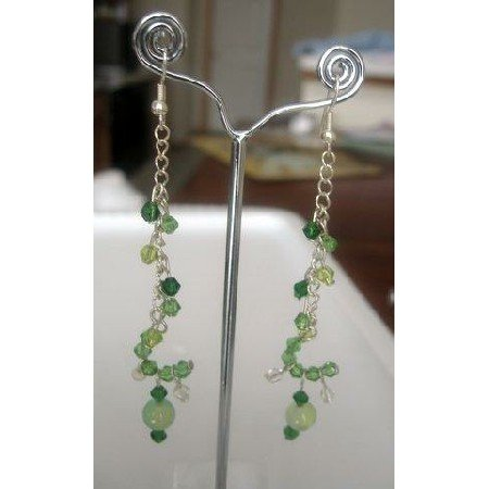ERC066  Sterling Silver Cascade Chain Green Dangle Crystals Earrings