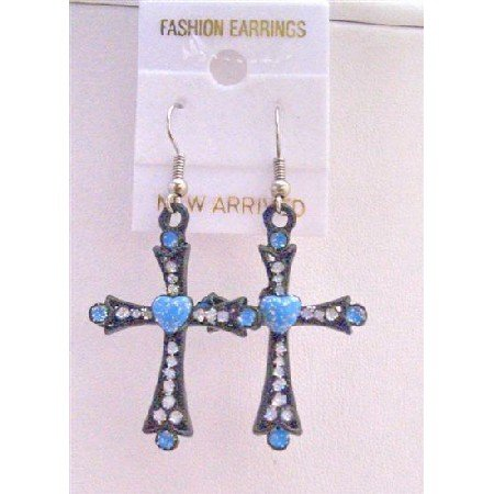 UER150  Black Cross Earrings w/ Blue Heart & Cubic Zircon Embedded Earrings
