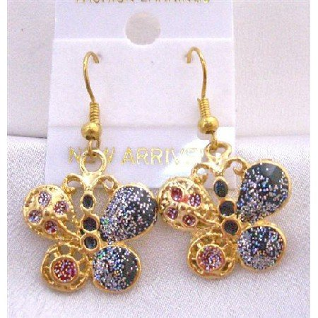 UER301  Glitter Butterfly Shimmering Gold Plated Butterfly Earrings