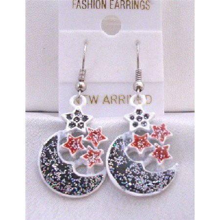 UER305  Half Moon Earrings Fabulous Earrings Moon Decorated w/ Glitter Black Red