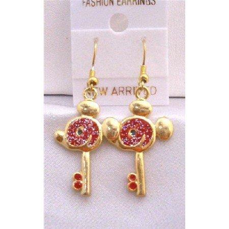 UER309  Mouse Face Key Earrings Gold Plated Key Earrings w/ Red Glitter