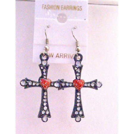 UER151  Cross Earrings w/ Red Heart & Cubic Zircon Embedded Earrings