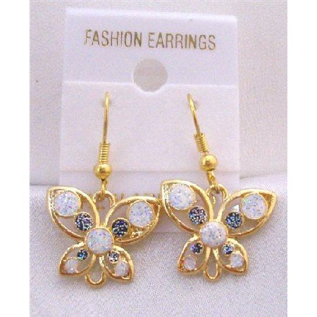 UER304  Dainty Earrings Butterfly Earrings w/ White & Blue Glitter Decorated Earrings