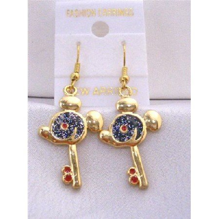 UER308  Key Earrings w/ Mouse Face Earrings Gold Plated Key Earrings w/ Black Glitter