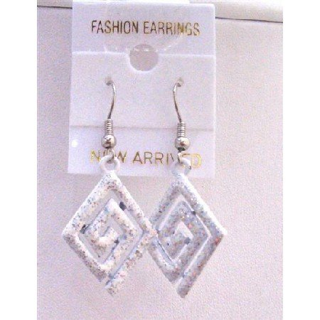 UER157  Multi Diamond Shaped White Glitter Enamel Earrings