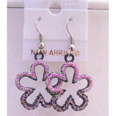 UER155  Pink Flower Earrings Pink Glitter Flower Earrings Pink Enamel Earrings