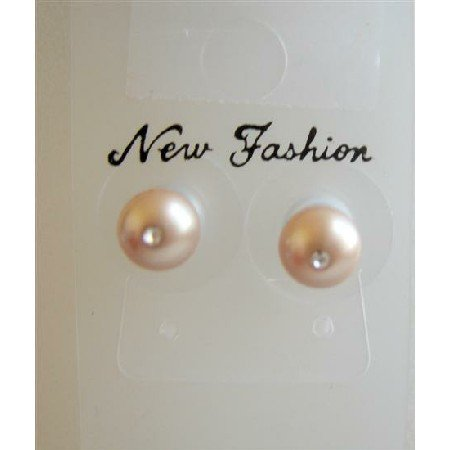 UER004 Stud Earrings Genuine Swarovski Champagne Pearls 6mm Stud w/CZ In Middle Pearls
