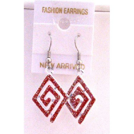 UER159  Red Diamond Shaped Earrings Red Glitter Earrings