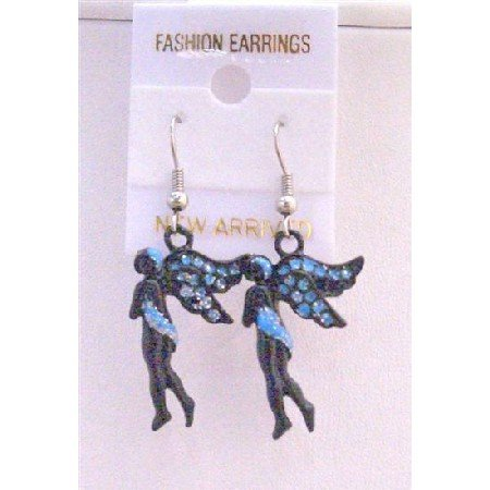 UER160  Angel Fairy Earrings Black w/ Blue Cubic Zircon Glitter Earrings