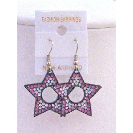 UER161  Colorful Star Earrings Pink White Amethyst Glitter Star Earrings