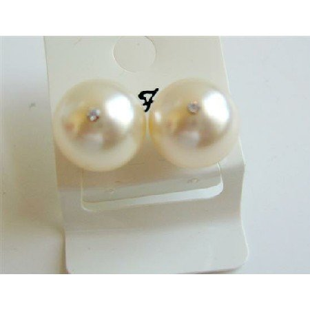 UER018  Cream Pearls 10mm Stud Earrings w/ Cz In The Middle Of Pearls Stud Earrings