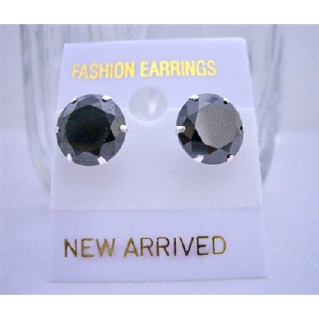 UER016  Sterling silver 92.5 Surgical Post Stud Earrings Black Cz Stud Earrings