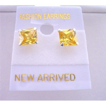 UER041  Beautiful Cute Citrine Stud Earrings 8mm Citrine CZ Stud Earrings
