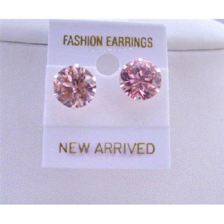 UER025  Sparkling Cubic Zircon Pink Stud Earrings 10mm Cz Sterling Silver Stud Earrings