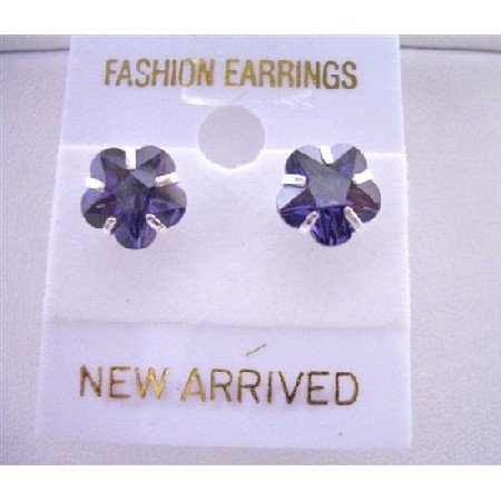 UER035  Tanzanite Flower Cubic Zircon Stud Earrings Surgical Post Earrings
